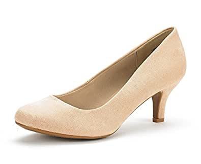 Dream Pairs Women's Luvly Nude Suede Bridal Wedding Low Heel Pump Shoes - 5 M US