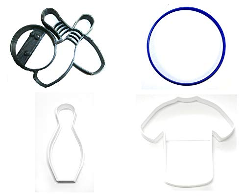 BOWLING BALL PINS SHIRT RECREATIONAL SPORT ACTIVITY HOBBY SET OF 4 SPECIAL OCCASION COOKIE CUTTERS BAKING TOOL 3D PRINTED MADE IN USA PR1372