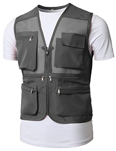 H2H Mens Active Work Utility Mesh Camping Vest of Multiple Pockets Gray US 2XL/Asia 4XL (KMOV0150)