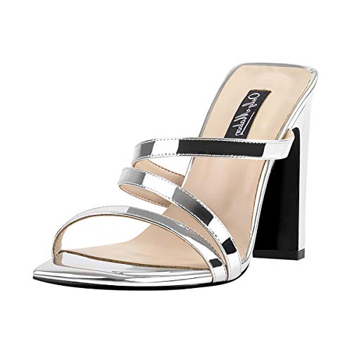 - Onlymaker Women's Chunky High Heel Slide Sandals Squre Open Toe Slip On Strap Heeled Sandals Slippers for Summer Casual Dress Wedding Silver 6 M US