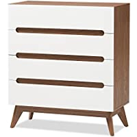 Baxton Studio Chests of Drawers/ Bureaus, 4-drawer Storage Chest, White/Walnut Brown