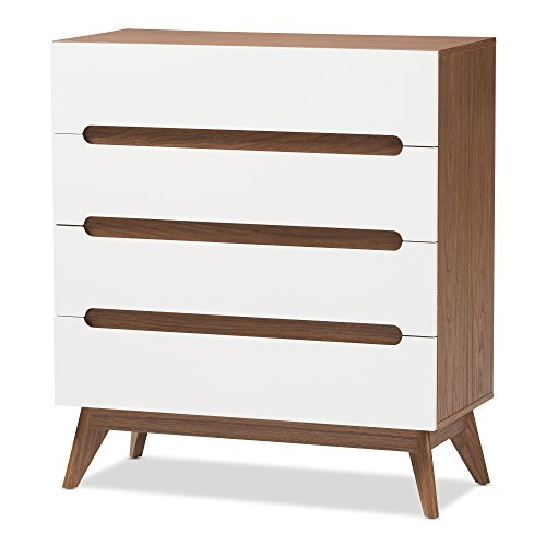 Baxton Studio Chests of Drawers/Bureaus, 4-Drawer Storage Chest, White/Walnut ()