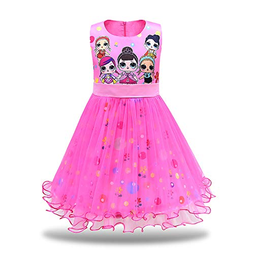MagJazzy Girls Tutu Princess Dress Doll Digital Print Sleeveless Pageant Gown Dress for Doll Surprised (120cm/ 4-5Y, Rose)