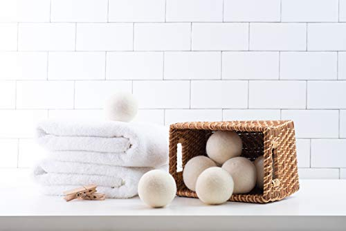 Woolzies Wool Dryer Balls Organic: 6 XL Laundry Balls for Dryer + 10 ml Lavender Essential Oil Combo for use as 100% Pure and Natural Fabric Softener | Best Scented Wool Balls Laundry