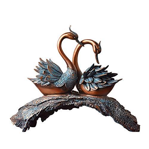 (XiYunHan Swan Decoration Resin Crafts European Luxurious Retro Living Room TV Cabinet Entrance Marry Gift Creative Home Arrangement Office Sculpture Process Soft Dress Furnishings Desktop)