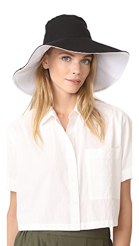 Hat Attack Women's Canvas Reversible Sunhat, Black/White, One Size