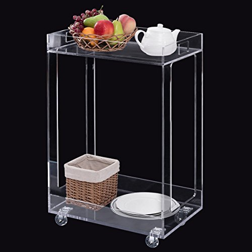 TANGKULA Bar Cart 2 Tier Acrylic Clear Home Kitchen Rolling Serving Cart Kitchen Storage Cart