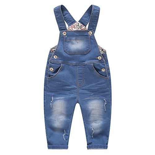 Kidscool Baby & Little Boys/Girls Stone Washed Big Bib Jeans Overalls,Blue,3-4 Years Denim Toddler Bib