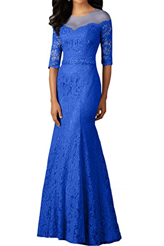 La Still mia Abendkleider Spitze Langarm Royal Braut Brautmutterkleider Partykleider Damen Ballkleider Meerjungfrau Blau rrvUd