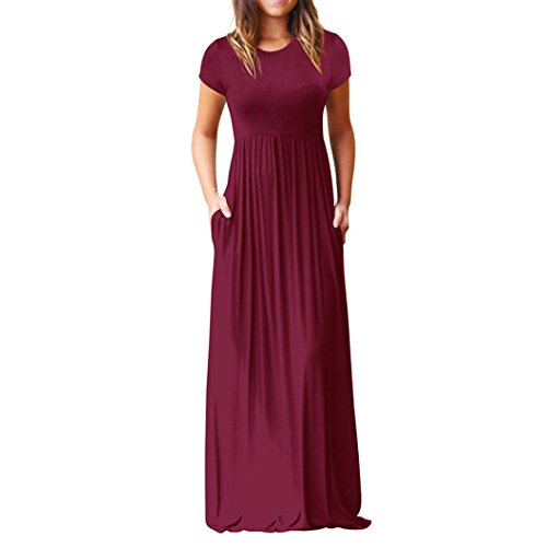 Robe Braderie Longue Dcontract Femme Vin Robe Robe de Rouge pour de Dress Sexy d't et Solide Robe Neck Mode EUZeo O soire Robe nRIqfZw6z