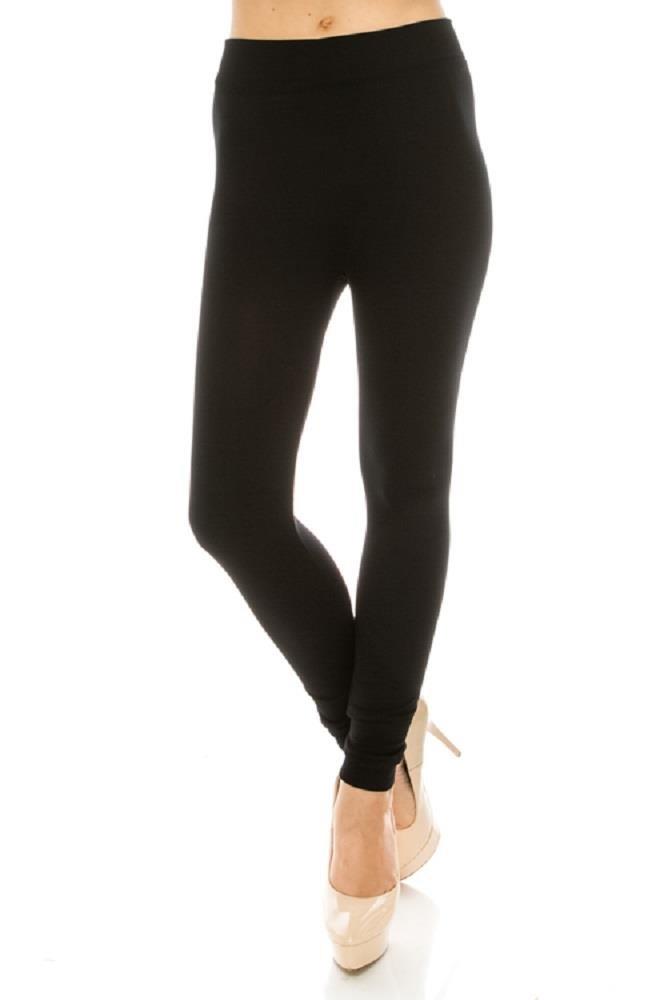 JVINI Women's Ultra Soft High Waist Solid Fleece Lined Leggings Pants Black