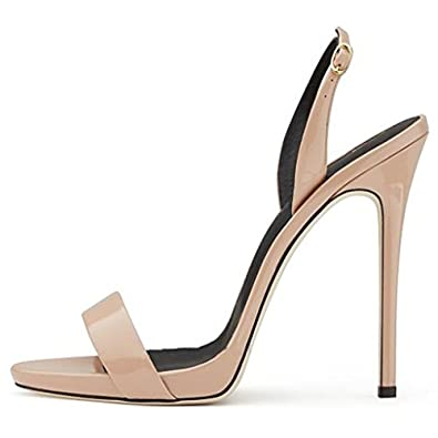 7c2096c634 Amazon.com | Comfity Heeled Sandals for Women, Sexy Slingback Shoes Buckled  Spikes Heels Single Band Dress Party Sandals | Heeled Sandals