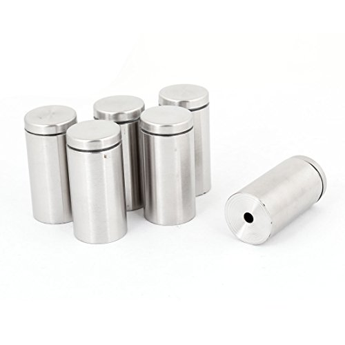 """1"""" Dia 2"""" Long Round Stainless Steel Standoff 6 Pcs for Glass Hardware"""