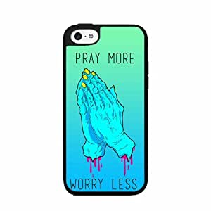 Neon Pray More Worry Less- TPU RUBBER SILICONE Phone Case Back Cover iPhone 5 5s