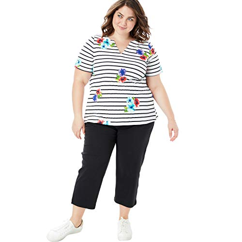 Woman Within Women's Plus Size 2-Piece Tunic and Capri Set - Black Stripe Floral Print, 4X
