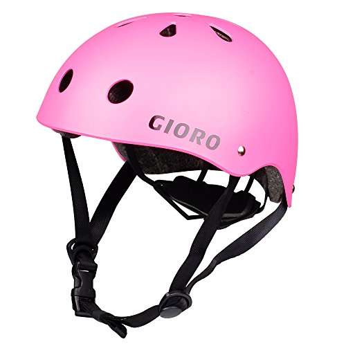 GIORO Skateboard Helmet Impact Resistance Safe Helmet with Ventilation Multi Sport for BMX Bike Skate& Scooter,Dual Certified CPSC Adult &Kids Adjustable Dial Helmet-Multiple Colors&Sizes (Pink, S)