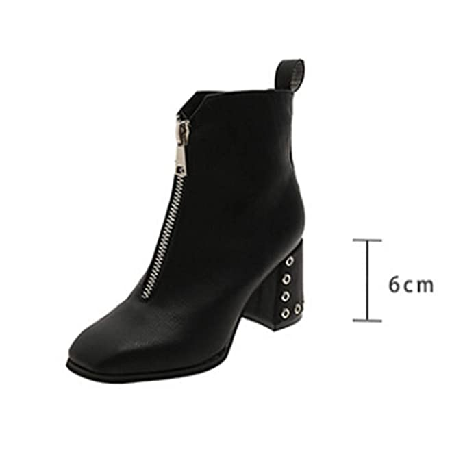 Amazon.com | Short Boots for Women☀ Womens Pointed Toe Shoes, Cross-Tied Leather Square High Heel Boots | Boots