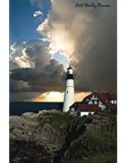 """2021 Weekly Planner: Lighthouses 2021 Weekly Calendar With Goal Setting Section and Habit Tracking Pages, 6""""x9"""""""