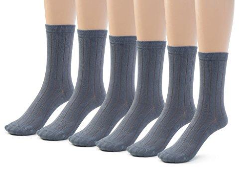 Silky Toes 6 Pk Bamboo Ribbed Boys Girls Crew Socks, Casual School Uniform Basic Socks (Small (7-8), Heather Grey (6 (Childrens Toe Socks)