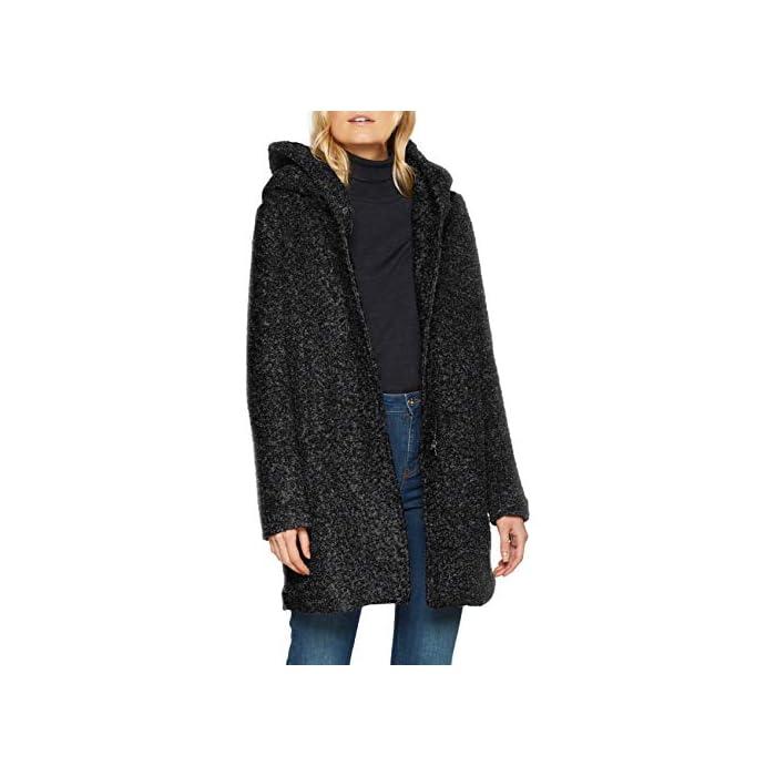 41G1ZwMd93L Boucle - Abrigo de lana Con capucha. 55% Poliéster, 45% Lana