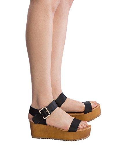 OLIVIA K Women's Platform Buckle Sandal - Open Peep Toe Fashion Chunky Ankle Strap Shoe,Black Pu,9 B(M) US by OLIVIA K (Image #4)