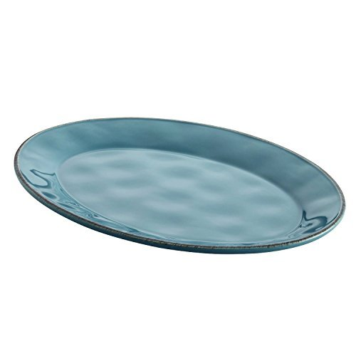 Rachael Ray Cucina Dinnerware 10-Inch x 14-Inch Stoneware Oval Platter, Agave Blue by Rachael Ray
