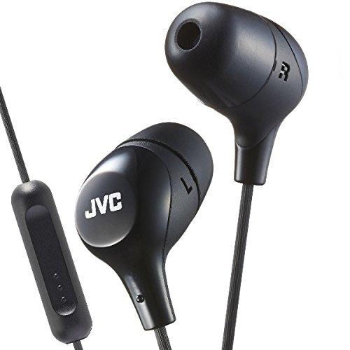 JVC HAFX38MB BLACK Marshmallow In-Ear headphones w/Remote/Mic - Jvc Black Marshmallow Headphones