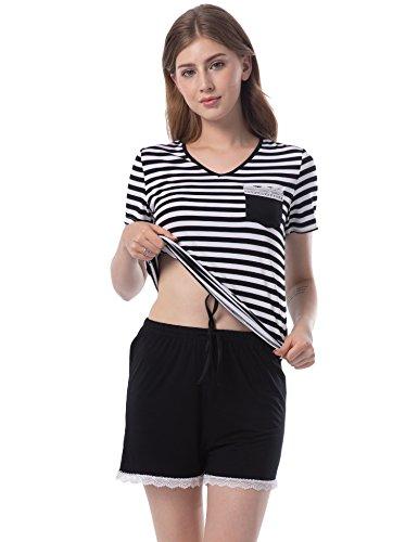 Women's 2 Piece Lounge V Neck Shirts Elastic Waist Shorts Pajama Sleep (2 Piece Elastic Waist Pajama Set)