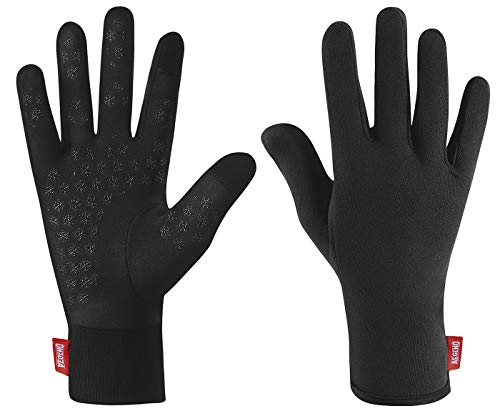 aegend Upgraded Lightweight Running Gloves Warm Touchscreen Compression Mittens Liners Gloves Men Women with Elastic Cuff Cycling Driving Sports Gloves for Winter, Small