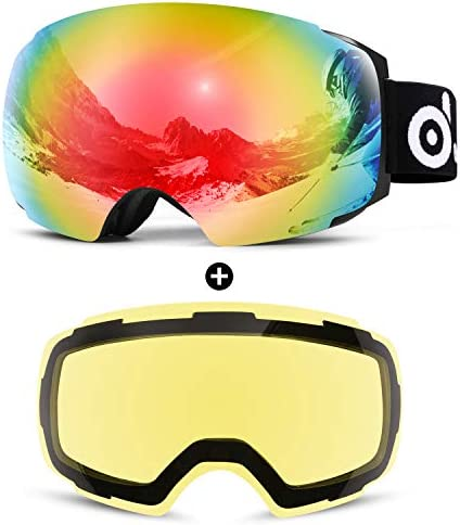 Odoland Magnetic Interchangeable Ski Goggles with 2 Lens, Large Spherical Frameless Snow Goggles for Men Women, OTG and UV400 Protection