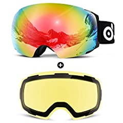 Description   Winter is coming! Are you looking for one pair of goggles that you can wear in a range of different conditions? If so, ODOLAND Snow Ski Goggles is for you! The goggles with large spherical lens and personalize structure provides...