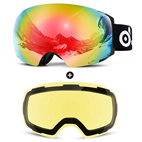Odoland Ski Goggles Set with Detachable Lens, Frameless Interchangeable Lens, Anti-Fog 100% UV Protection Snow Goggles for Men and Women, Helmet Compatible (Best Snowmobile Goggles For Night)