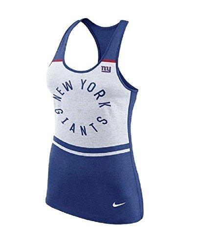 NIKE Women's New York Giants Tri-Blend Racerback Tank Top White/Blue 842178 (X-Large)