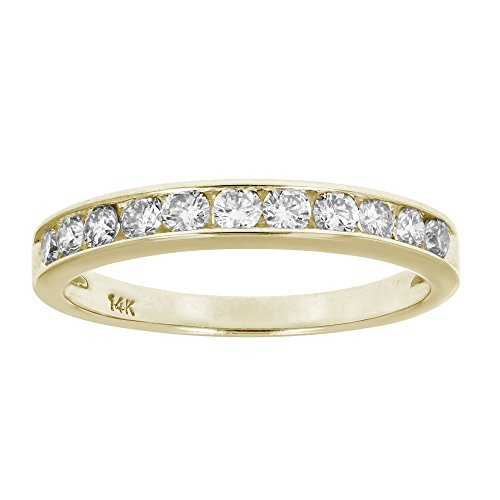 AGS Certified SI2-I1 1/2 ctw Classic Diamond Wedding Band 14K Yellow Gold Size 5.5 (14k Wedding Yellow Ring Gold)