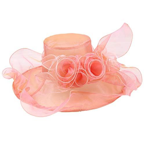 TANGSen Women's Organza Church Kentucky Derby Dress Hat Elegant Vintage Outdoor Casual Tea Party Wedding Hat Orange]()