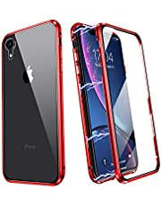 Magnetic Case for iPhone XR, Ultra thin Magnetic Adsorption Case 360 Degrees Fullbody Protective Case Compatible with iPhone XRR Metal Frame Bumper Cover with Front and Back Tempered Glass