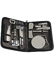 Conjunto de podadoras Uñas de Viaje sistema de manicura profesional kit de aseo Incluir las podadoras de clavo de las pinzas del espejo Lima de la maquinilla de afeitar de tijera ( color : Negro )