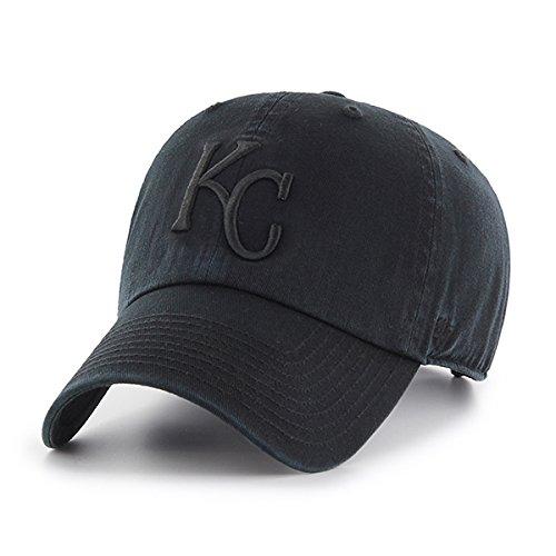 '47 Kansas City Royals Hat MLB Authentic Brand Clean Up Adjustable Strapback Black Baseball Cap Adult One Size Men & Women 100% Cotton (City Royals Hats Kansas)