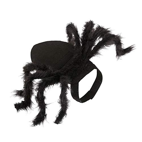 Black Pug Spider Costume (TrifyCore Spider Cat Costume Adjustable Spider Halloween Pet Neck Wear Puppy Harness Clothes for Halloween Festival Cosplay Party Black S)