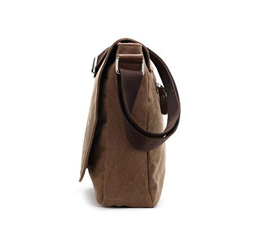 Durable Fashion Vintage Canvas Messenger Bag Laptop Bag Ipad Bag Bookbag Satchel Crossbody Bag Shoulder Sling Bag Shopping Bags Outdoor Sports Travel Casual Weekend Bag for Men and Women (Coffee)