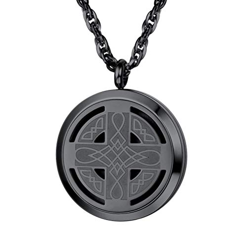 PROSTEEL Celtic Knot Cross Diffuser Necklace,Locket,Aromatherapy Necklace,Stainless Steel Essential Oil Diffuser,Essential Oil Necklace,Womens Jewelry,Valentines Day,Black, Diffuser 30mm
