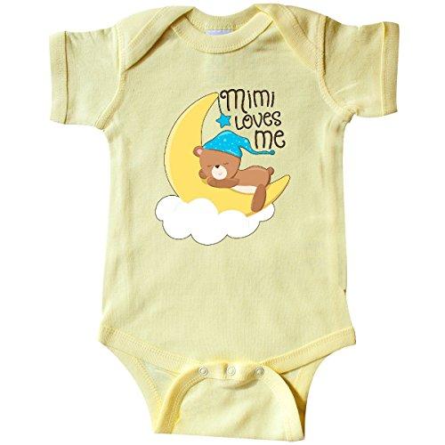 inktastic Mimi Loves Me- Little Infant Creeper Newborn Banana Yellow (Infant Yellow Teddy Bear)