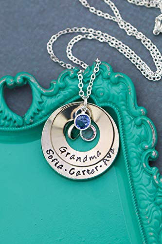 Cupped Grandma Necklace - DII ABC - Grandmother Gift - Personalized Children's Nameplate Mom Birthstone Jewelry - 1 and 1.25 Inch Washers Swarovski Crystals