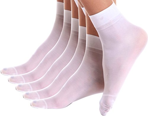 Florboom Womens Cute Ultra Sheer Ankle Short Dress Socks Pantyhose White 5 Pack ()