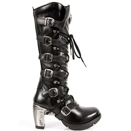 NEWROCK New Rock Stiefel Style M.TR004 S1 Schwarz Damen Stahl Absätze