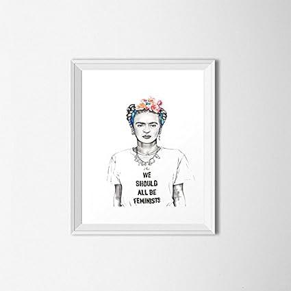 Amazon.com: MS Fun Feminist Frida Kahlo Canvas Art Print Wall ...