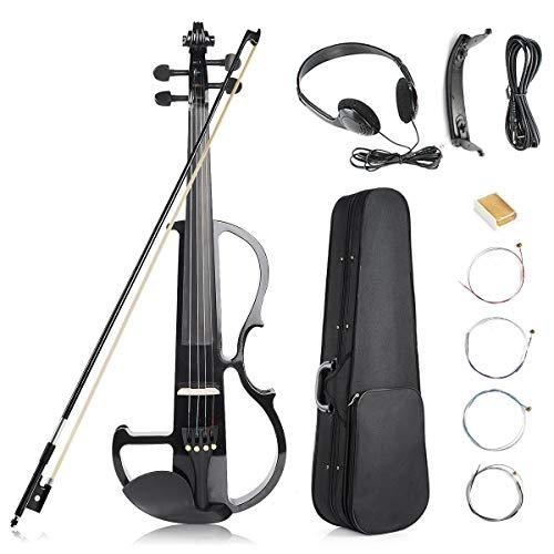 Kit de violín eléctrico, 4/4 Tamaño Completo Violín Silencioso, Negro