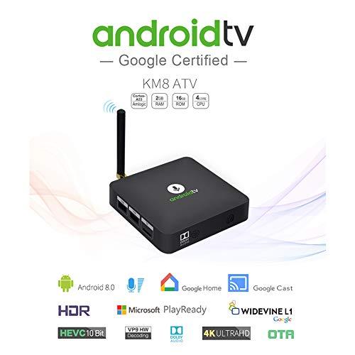 BEESCLOVER KM8 Android 8.0 Quad Core Smart TV Box H.265 4K 2GB+16GB Voice Control TV Box U.S Plug
