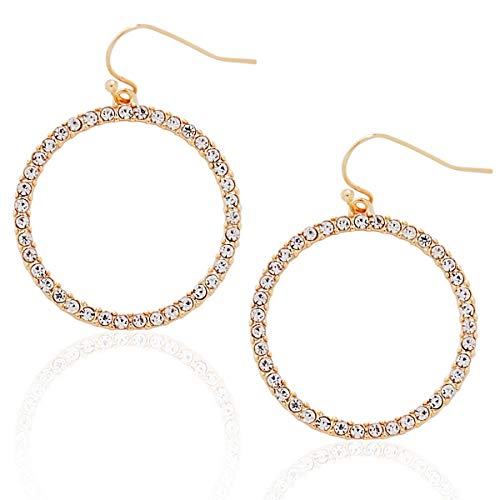Humble Chic Hoop Dangle Earrings - Simulated Diamond Round Circle Cutout Statement Rhinestone Drops, Gold-Tone Pave Hoop