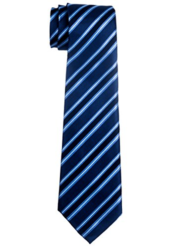 Preppy Stripe Pattern Woven Boy's Tie (8-10 years) - Blue by Retreez